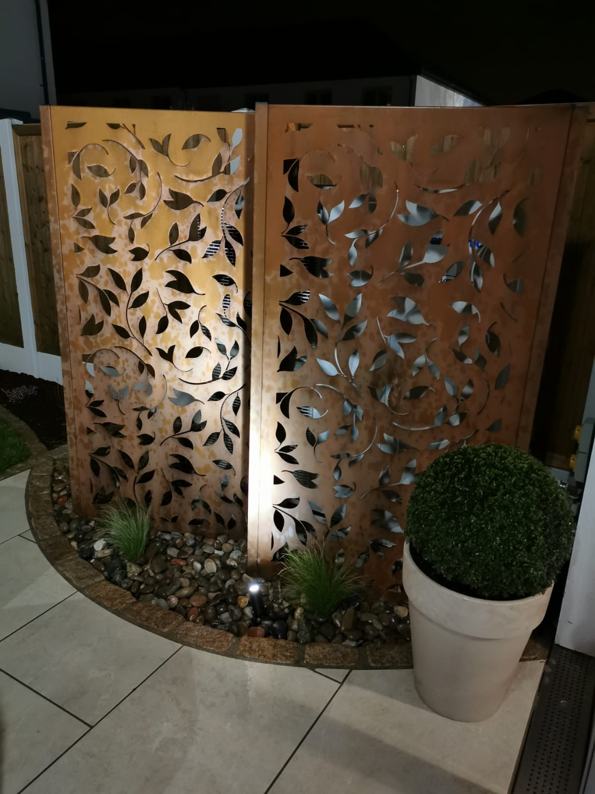 Decorative Corten Steel Panels at Night