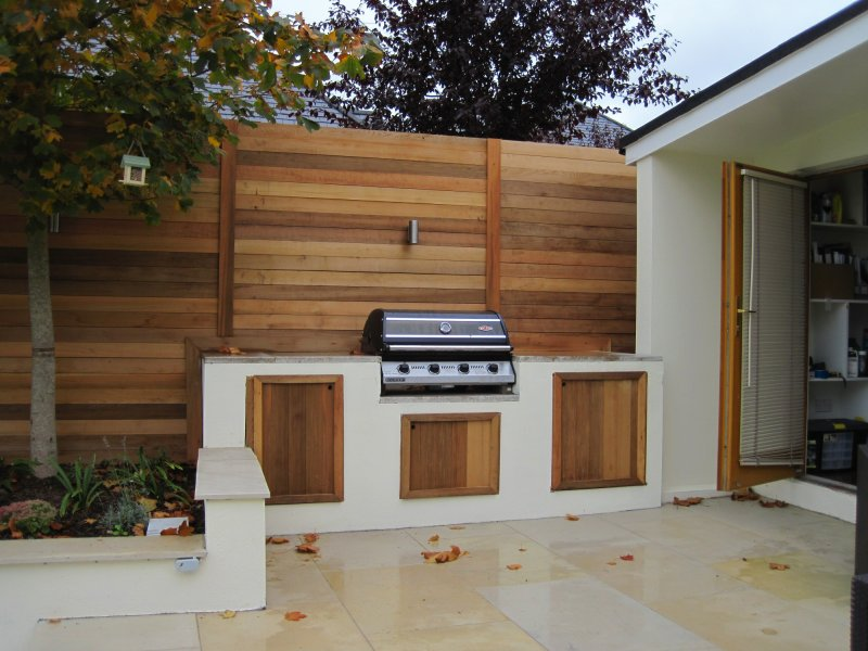 contemporary built in bbq - Garden Design Kildare