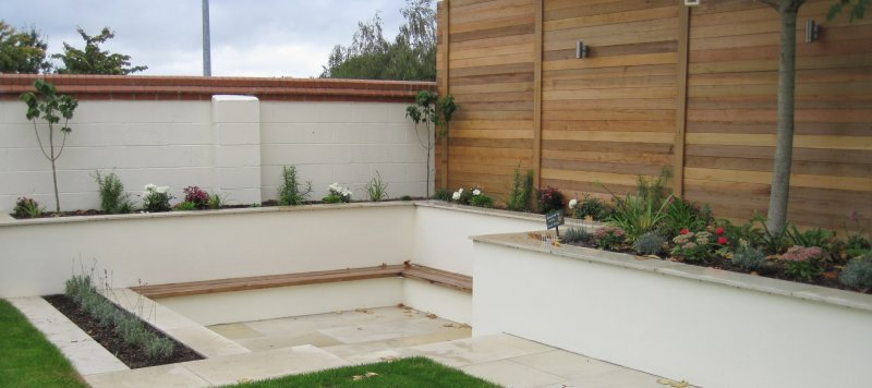 contemporary sunken garden sitting area - Garden Design Kildare