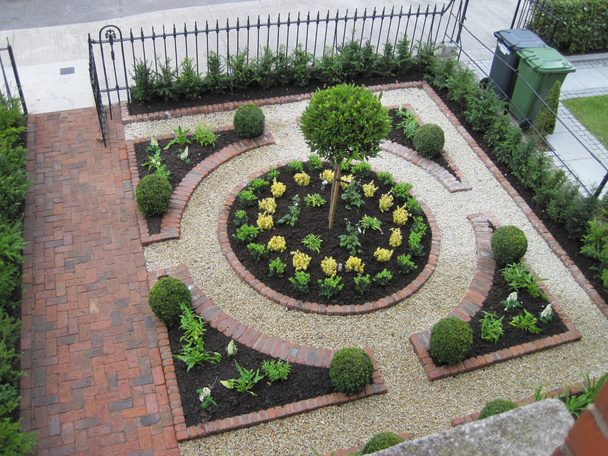 Formal Garden Design terrace with dining and seating area and a path running through a formal garden garden Formal Parterre Overview