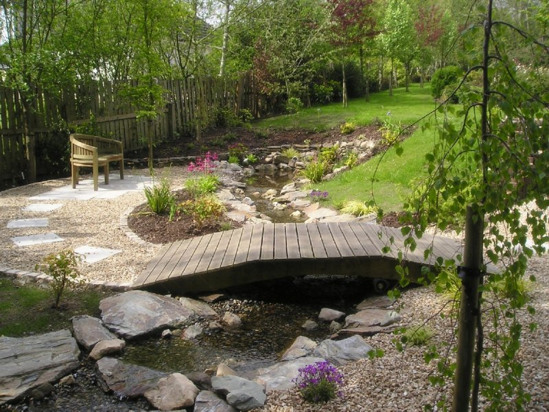 Garden Pond, Stream and Bridge