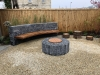 Gravel  & Limestone Fire Pit and Built in Seating