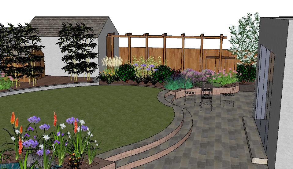Back garden design garden design dublin for Images of back garden designs