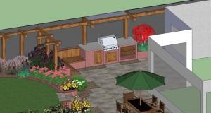 Garden Design with built in BBQ Schematic