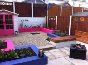 Purple & Pink Walls in a Garden Design