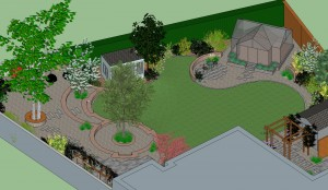 Garden Design Drawing 3d