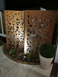 Corten Steel Panels at Night